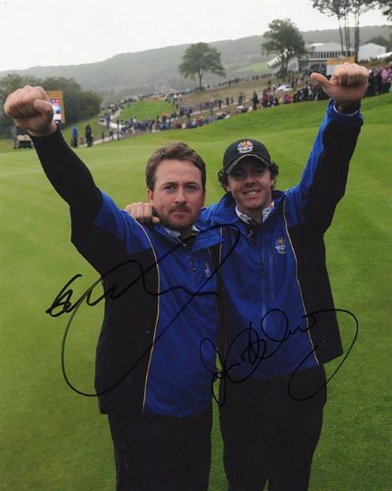 Graeme McDowell & Rory McIlroy, Ryder Cup 2010, signed 10x8 inch photo.